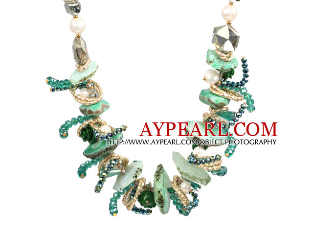 Speical Design Beautiful Green Series Natural Freshwater Pearl Crystal Crystallized Agate Chunky Necklace