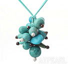 Lovely Cluster Style Mixed Shape Blue Turquoise And Round Garnet Pendant Necklace With Green Cords