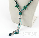 Nice Multi Phoenix Stone And Black Agate Long Chain Pendant Necklace