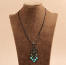 Simple Vintage Style Chandelier Shape Blue Turquoise Green Crystal Tassel Pendant Necklace With Black Leather
