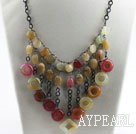 exquisite style three color jade necklace with extendable chain