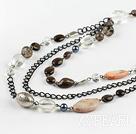 Wholesale smoky quartze metal chain necklace