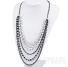 Wholesale multi strand acrylic pearl and crystal necklace