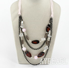 Wholesale Fashion Layer Loop Chain Style Smoky Quartz And Agate Necklace With Pink Ribbon