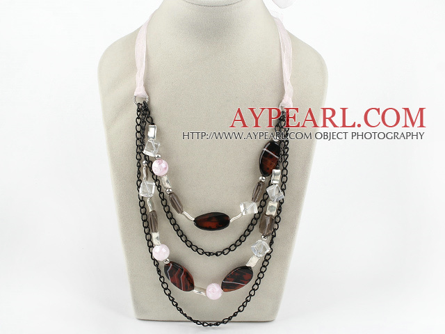 Fashion Layer Loop Chain Style Smoky Quartz And Agate Necklace With Pink Ribbon