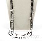 Fashion Multi Strand White Cubic Crystal And Long Metal Chain Necklace