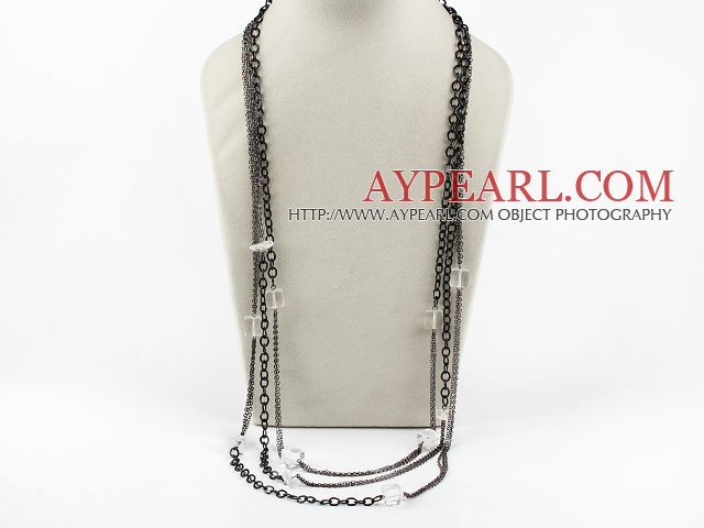 white crystal necklace with metal chains