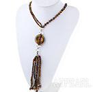 Wholesale Fashion Style Tiger Eye Y Shape Tassel Necklace with Tiger Eye Donut
