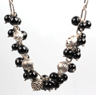 Wholesale Fashion Style Black Agate and Tibetian Silver Accessories Charm Necklace with Metal Chain