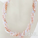 Wholesale Multi Strands Pink Freshwater Pearl and Rose Quartz and Opal Necklace