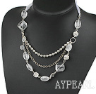 Wholesale pure crystal necklace with ribbon