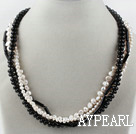 Multi Strand Black and White Freshwater Pearl and Black Agate Necklace with Moonlight Clasp