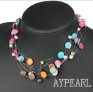 Fashion Multi Color Pearl And Disc Shell Hand-Knitted String Necklace With Toggle Clasp