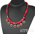 Fashion Round Rice Shape Beaded Bloodstone Coin Silver Metal Charm Pendants Necklace
