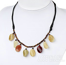 Lovely Tiger Eye Beads And Three-Colored Jade Black Threaded Necklace