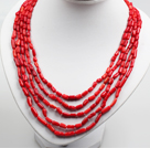 Cinq Strands Red Coral Collar Déclaration Collier