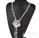 Mother of pearl Rose quartz necklace