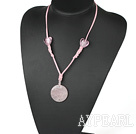 Fashion Heart Shape Color Glaze And Flat Round Rose Quartz Pendant Necklace With Pink Cords