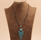 Simple Vintage Style Chandelier Shape Blue Turquoise Tassel Pendant Necklace With Black Leather