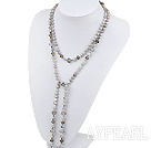 Long Lovely Gray Freshwater Pearl And Smoky Color Czech Crystal Necklace, Sweater Necklace