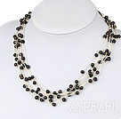 Wholesale multi strand black pearl necklace