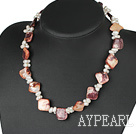Popular White Freshwater Pearl And Wine Red Shell Necklace With Moonight Clasp