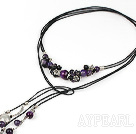 Lovely Long Style Pearl Agate And Amethyst Threaded Pendant Necklace, Sweater Necklace