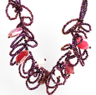 Speical Design Beautiful Purple Red Crystal Natural Pearl Agate Chunky Necklace
