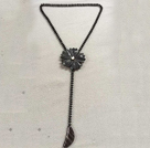 Simple Fashion Style Y Shape Black Agate Beads Black Jade Flower Necklace
