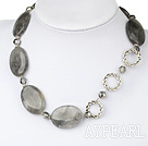 Fashion Smoky Like Crystal And Large Loop Charm Strand Necklace With Moonight Clasp