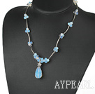Wholesale Elegant Tear Drop Opal Pendant With Metal Strand Necklace