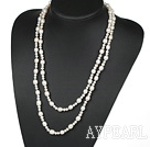 Wholesale Long Style Natural White Fresh Water Pearl Beaded Necklace, Sweater Necklace