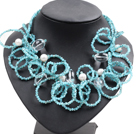 Speical Design Beautiful Sky Blue Crystal Natural Pearl Agate Statement Chunky Necklace
