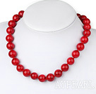 Fashion 14Mm Red Round Bloodstone Ball Beaded Strand Necklace With Lobster Clasp