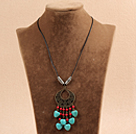 Simple Vintage Style Heart Shape Turquoise Red Round Coral Beads Tassel Pendant Necklace With Black Leather