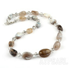 Gray Agate and Clear Crystal Long Style Necklace