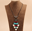 Wonderful Long Style Pearl Turquoise Coral Chipped Stone Necklace, Sweater Necklace