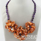 Amethyst and Orange Color Shell Flower Necklace
