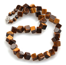 Wholesale Cube Shape Tiger Eye Necklace with Box Necklace