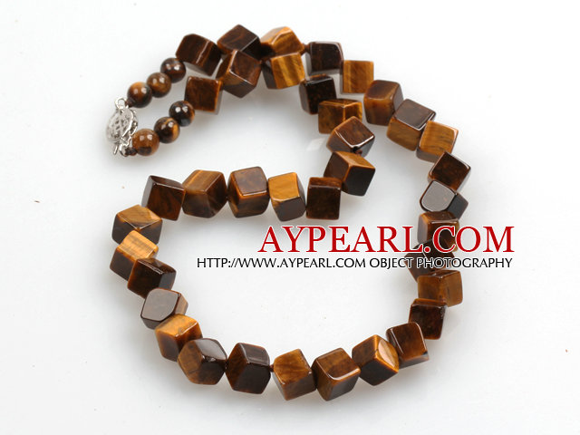 Cube Shape Tiger Eye Necklace with Box Necklace