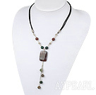 Popular Multi Color Indian Round And Rectangle Pendant Chain Necklace With Lobster Clasp