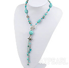 Popular Lake Blue Series Turquoise Freshwater Pearl And Crystal Pendant Threaded Necklace With Flower Toggle Clasp