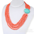 Multi Strand Oragne Color Coral Beaded Necklace with Turquoise Clasp