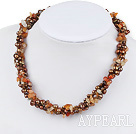 Wholesale Fashion Golden Brown Freshwater Pearl And Chipped Red Agate Necklace,Long Sweater Necklace
