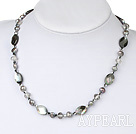 Wholesale Nice Gray Freshwater Pearl White Crystal And Black Lip Shell Beaded Strand Necklace
