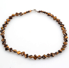 Wholesale Rhombus Shape Tiger Eye Necklace with Lobster Necklace