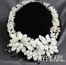 Elegant Style White Coral Chips and White Lip Shell and White Pearl Flower Party Necklace