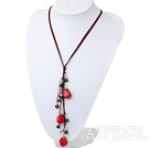 Beautiful Black Freshwater Pearl And Red Coral Pendant Necklace With Black And Red Threads
