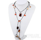 Fashion Natural Multi Color Agate Necklace, Sweater Necklace