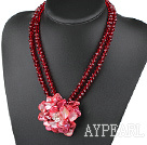 Wholesale Dark Red Crystal and Shell Flower Necklace